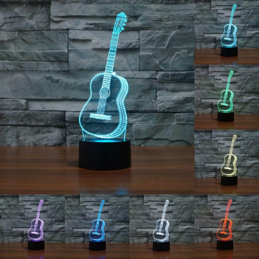 Creative 3D visuel ukulélé guitare modèle Illusion lampe LED 7 couleur changeante nouveauté chambre veilleuse musique décor à la maison IY803358