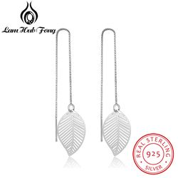 925 Sterling Silver Leaf Earrings for Women Girls Long Chain Tassel Drop Earring Brand Wedding Party Jewelry (Lam Hub Fong)