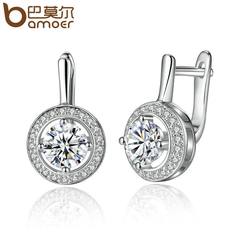 BAMOER Neue Ankunft Silber Farbe Runde Form Voller Liebe Baumeln Ohrringe Für Frauen Mode Schmuck YIE106