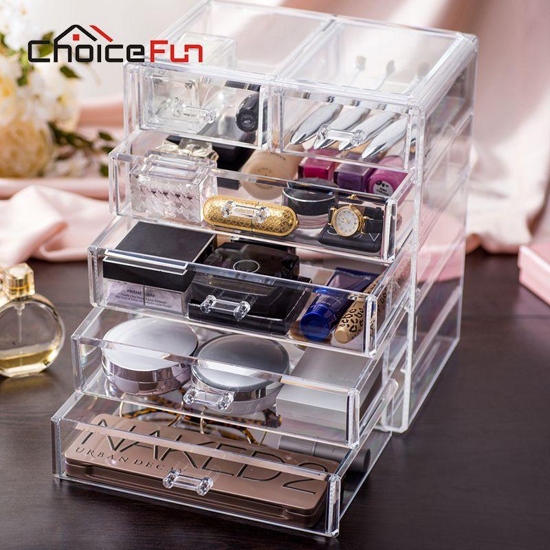CHOICE FUN Best Selling Large Jewelry Box Drawers Acrylic Cosmetic Organizer Glossy Makeup Organizer Drawers Organizer SF-1549-6