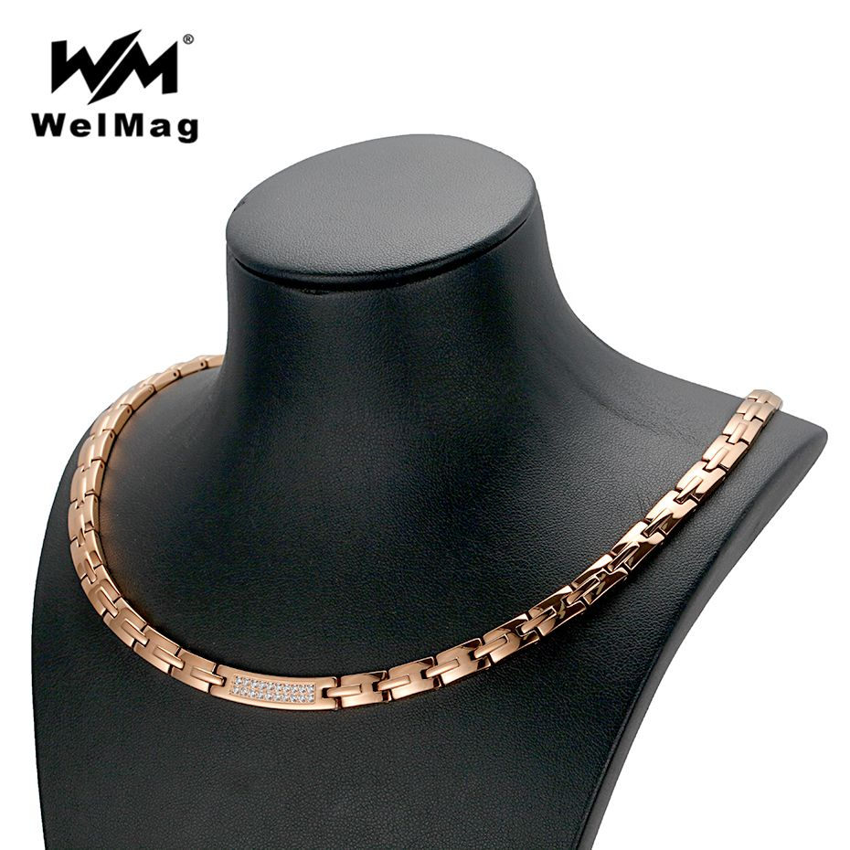 WelMag Dropshipping Rose Gold Necklace Women's Crystal Jewelry Stainless Steel Blood Pressure Hematite Magnetic Necklaces New