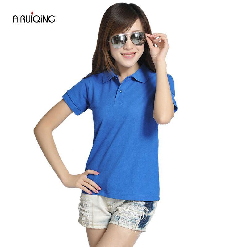 RICHARDROGER 2017 High Quality Solid Color Women Polo Shirt S-L Cotton Slim Polo Femme Shirt Brand England flag Polo Women