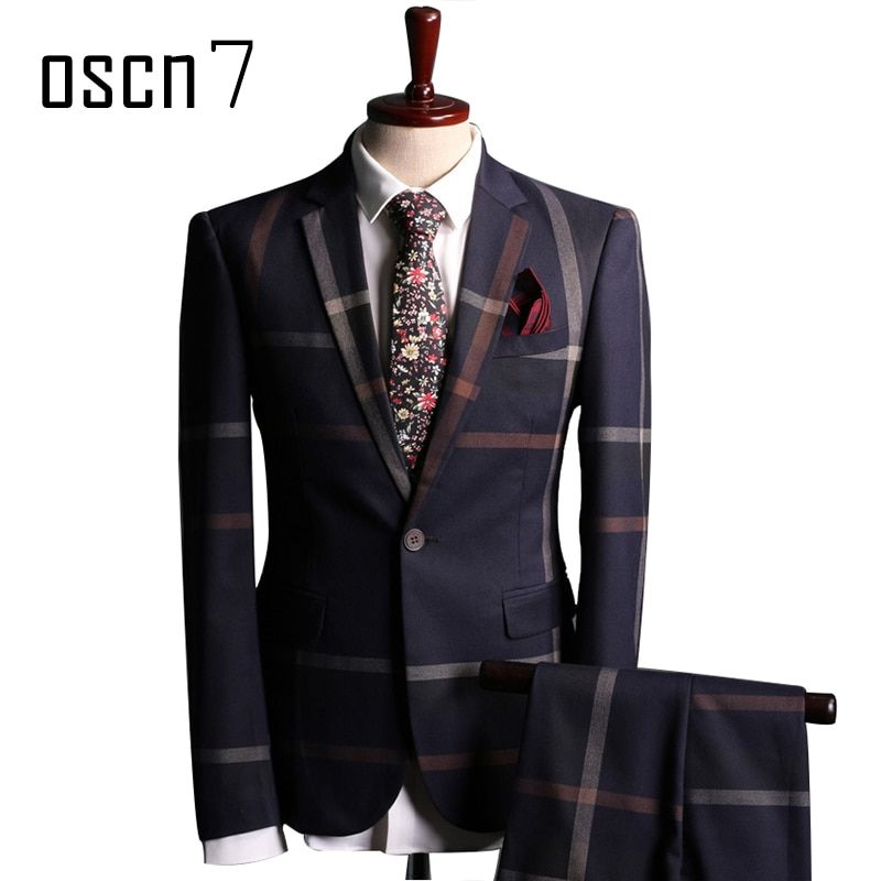 OSCN7 Navy Blue Slim Fit Plaid Suit Men Notch Lapel Business Formal <font><b>Dress</b></font> Suits For Men Fashion Terno Masculino Plus Size Suit