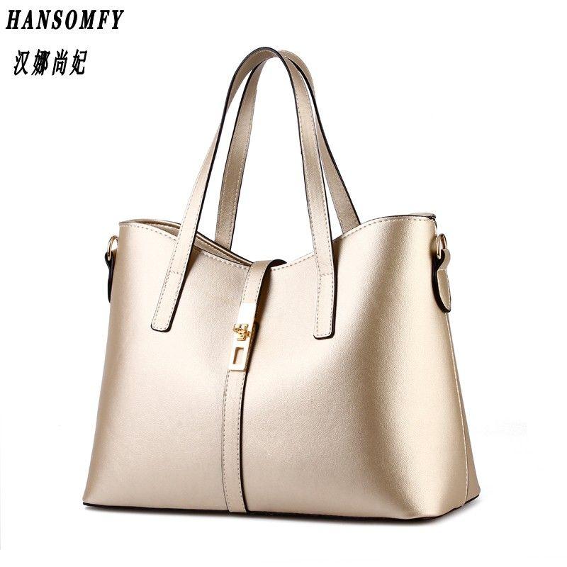 HNSF 100% Genuine leather Women handbags 2017 New Paragraph tide Ms female bag big bag simple shoulder bag handbag Messenger