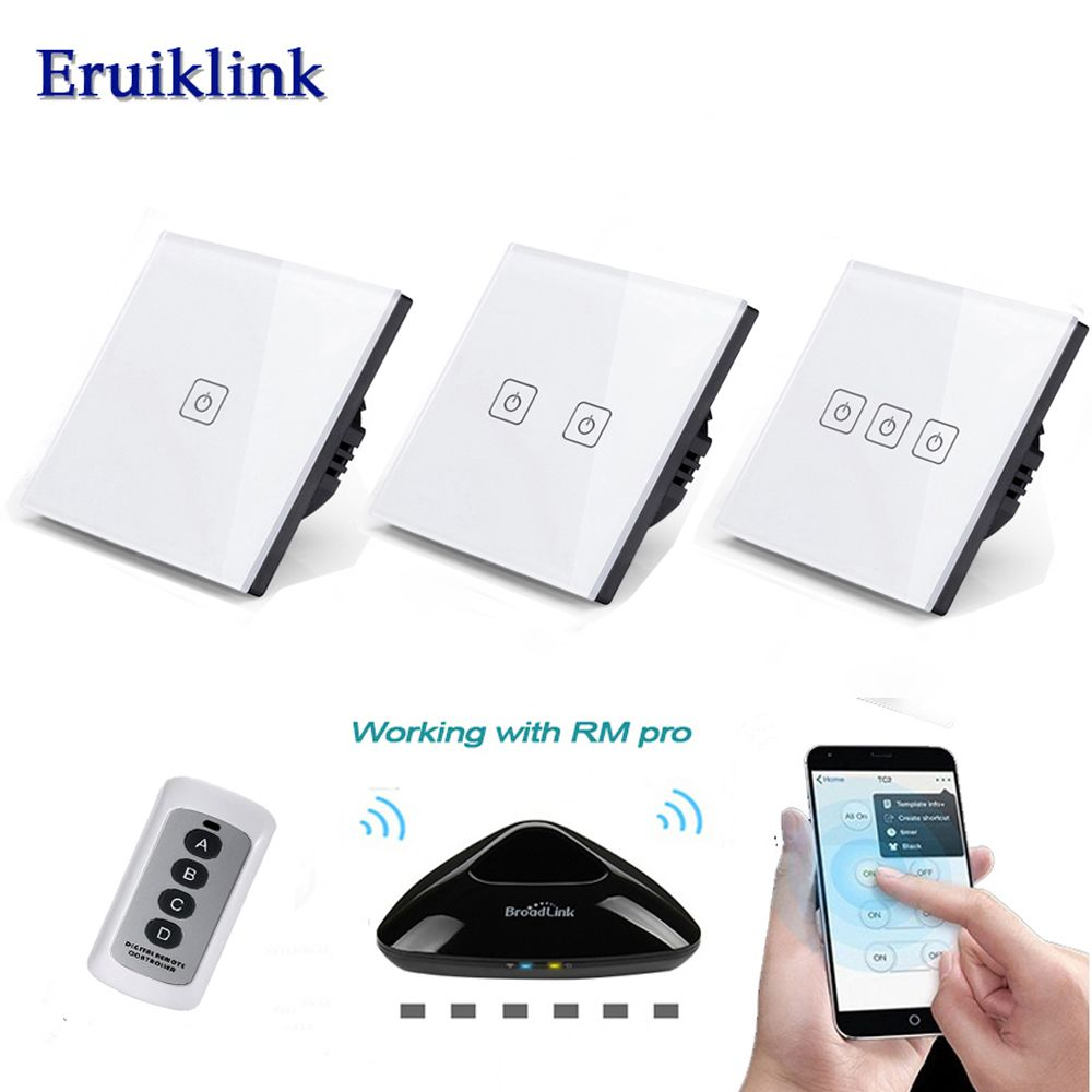 Eruiklink EU/UK 1/2/3 Gang Wireless Remote Control Wall Light Switch,White Crystal Glass Panel Touch Switch for Smart Home