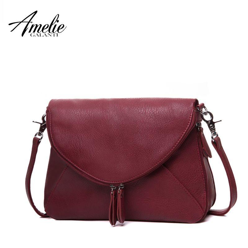 AMELIE GALANTI fashion women messenger bags pachwork envelope casual shoulder bag high quality PU soft zipper solid new fashion