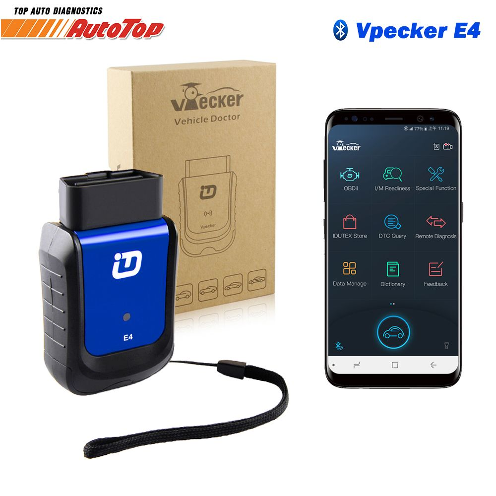 Vpecker E4 Bluetooth OBD 2 Auto scanner All System ODB2 Scanner Code Reader DPF EPB Injector Service Reset Car Diagnostic Tool