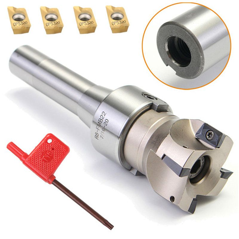 90 Degree R8 FMB22 Straight Shank Arbor+Face End Mill Cutter+4pcs APMT1604 Carbide Inserts Turning Tool