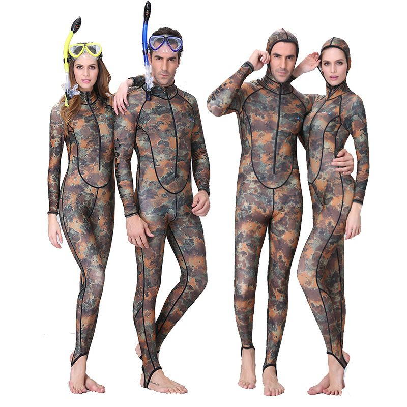 0.5MM Camouflage Snorkeling Dive Skin Rash Guards One-piece With Hood Men Women CAMO Wetsuit Lovers swimwear