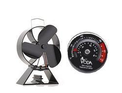 Envío estufa termómetro + ecológico 3-estufa de la lámina ventilador de madera registro quemadores