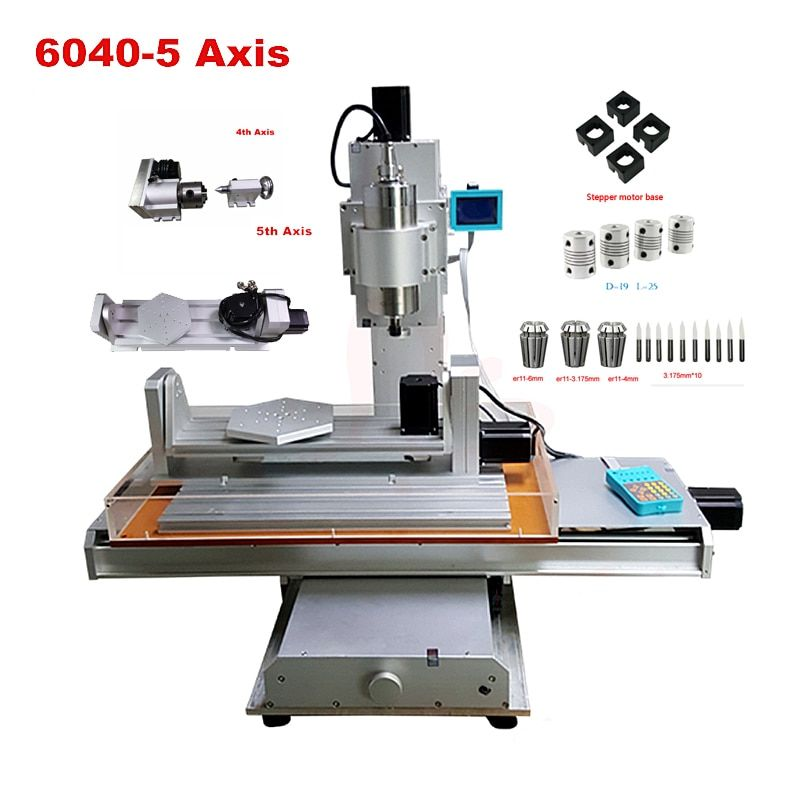 Vertical engraving machine 6040 2.2KW CNC wood router 5 axis with A axis B axis wood carving machine