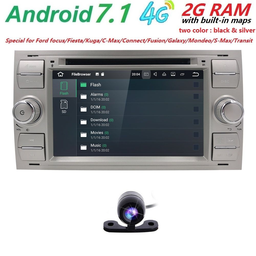 2 din Android 7.1 GPS Car Radio Tape Recorder Multimedia For Ford Focus 2 3 Mondeo S C Max Fiesta Galaxy head unit DVD Player 4G