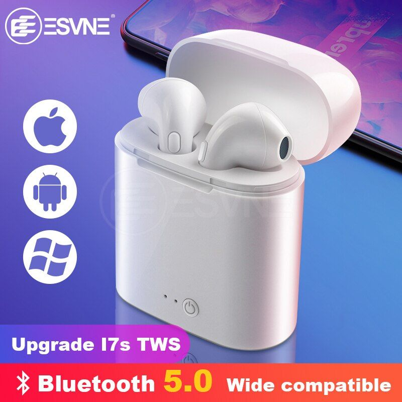 ESVNE i7s tws Wireless Bluetooth earphone headset Stereo Earbud Earphones With Charging Box for Smart Phone bluetooth headphone