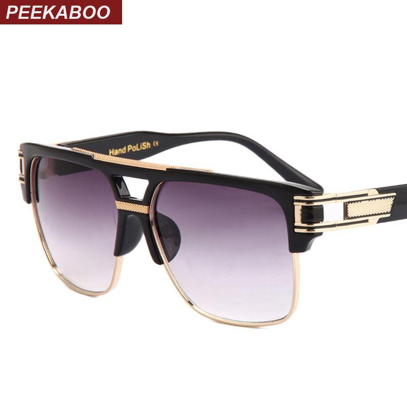 Peekaboo Top quality men sunglasses 2018 brand design big square semi rimless sun glasses men luxury unisex UV occhiali da sole