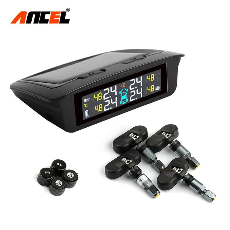 TPMS Sensor Tire Pressure Monitoring System Power Universal Wireless Real-time Displays 4 Tire Pressure Temperature Solar TPMS