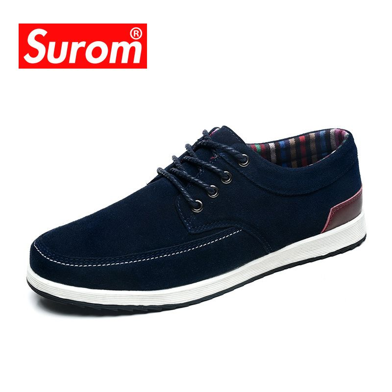 SUROM Men's Leather Casual Shoes Autumn Krasovki Luxury Brand Shoes Men Loafers Adult Moccasins Male Winter Warm Cow Suede Shoes