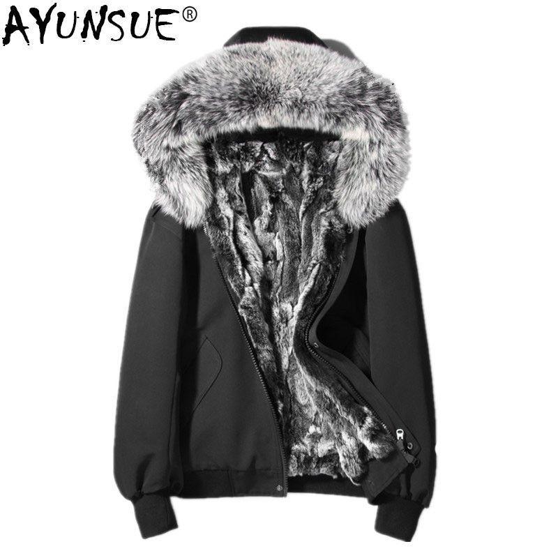 AYUNSUE Winter Jacekt Men Natural Rabbit Fur Coats Men Clothes 2018 Real Fox Raccoon Fur Collar Warm Parka Men Short Coat MY778