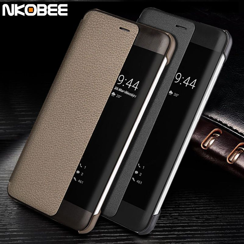 Huawei P10 Case Leather Flip NKOBEE Original Huawei P10 Phone Case Display Window Fundas Huawei P10 Plus Case Smart Cover Luxury