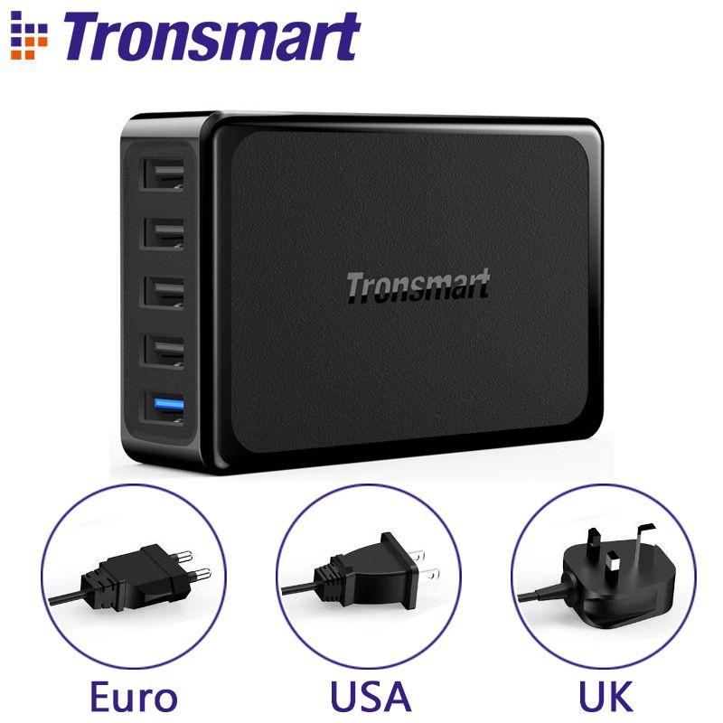 Tronsmart U5PTA chargeur USB Charge rapide 3.0 chargeur USB 1 Port de Charge rapide et 4 Ports VoltIQ pour téléphone tablette Type EU/US/UK