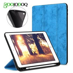 For iPad 2018 Case Pencil Holder, Soft Silicone Back Trifold Stand Smart Case for iPad 9.7 2018 2017 Cover A1893 A1954 Tablet