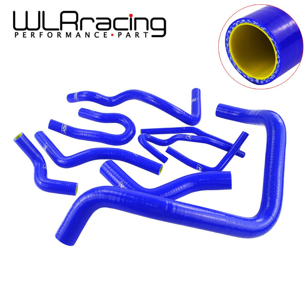 Blue & Yellow 9Pcs Silicone Radiator Coolant Hose Kit For Honda CIVIC SOHC D15 D16 EG EK 92-00 With PQY logo