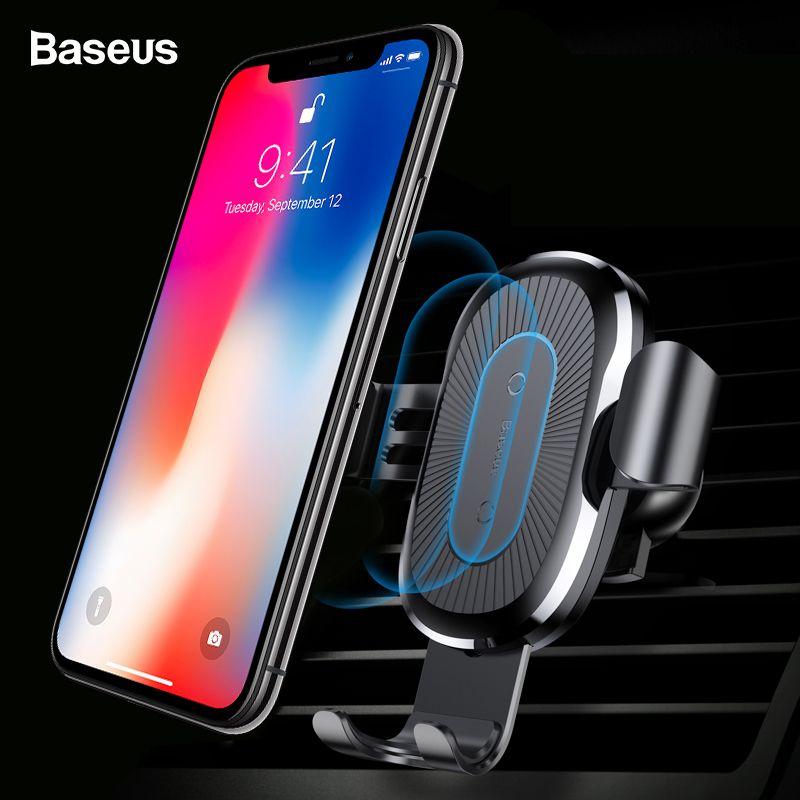 Chargeur sans fil Qi de voiture Baseus pour iPhone XS Max X 8 10 w chargeur de voiture sans fil de charge rapide sans fil pour Samsung S10 Xiao mi 9