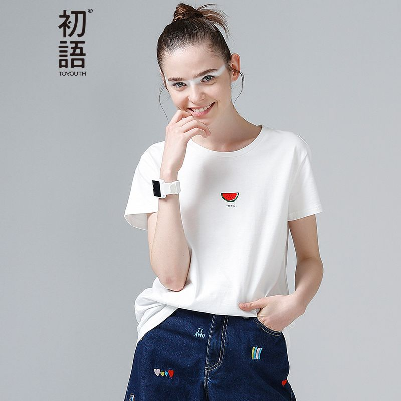 Toyouth Summer Tops Women Watermelon Print T Shirts Base O-Neck Short Sleeve Female T-shirt All-match Pink White Tee Shirt Femme