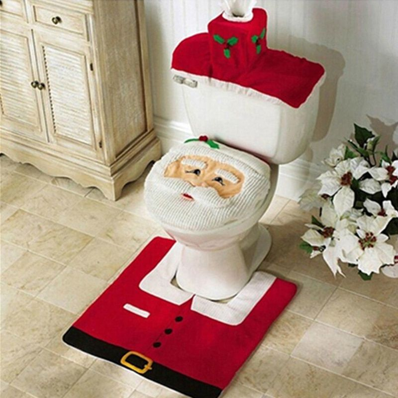 New Happy Santa Toilet Seat Cover Rug Bathroom Set With Paper Towel Cover For Christmas Gift New Year Home Decorations