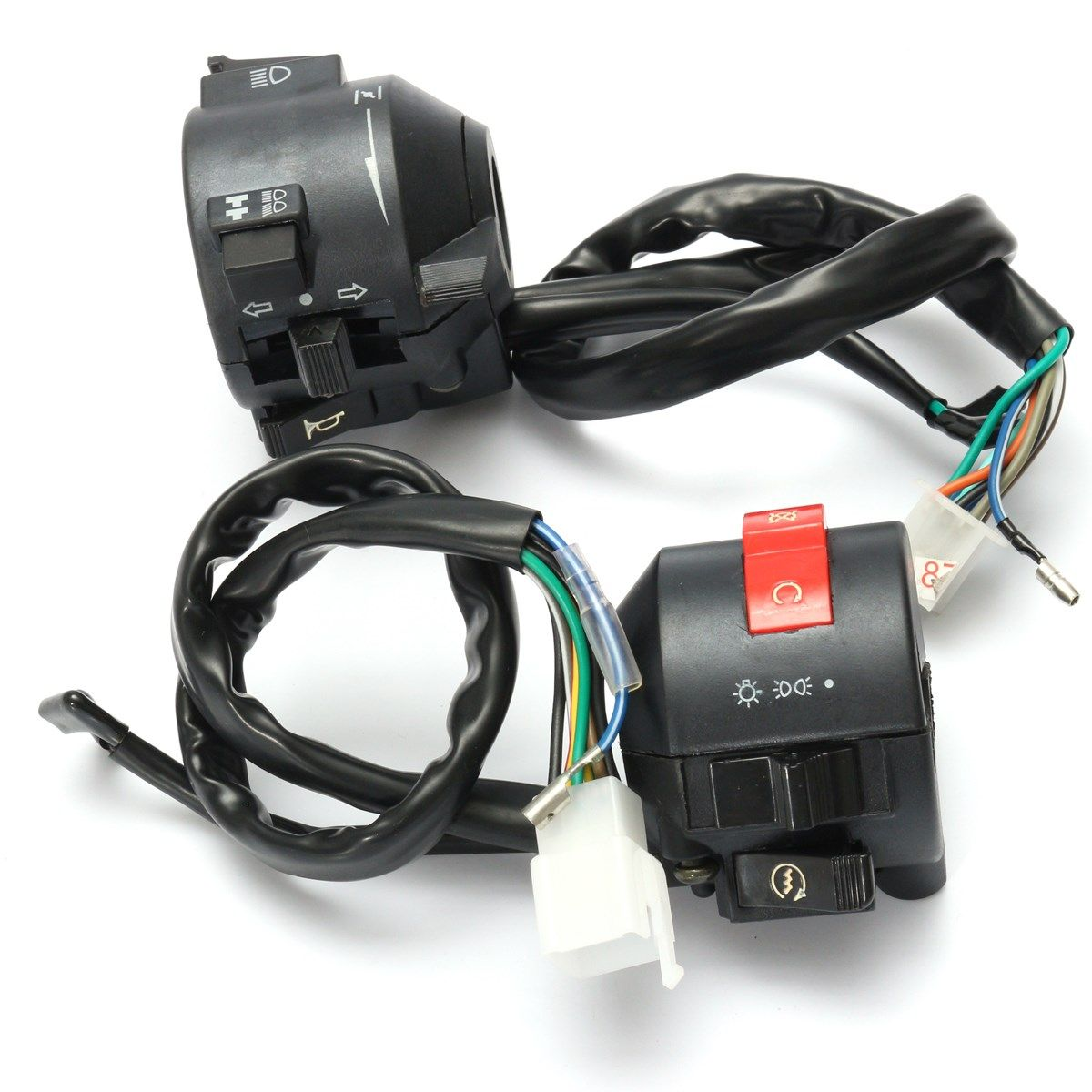 Black Motorcycle 7/8 Inch Handlebar Horn Turn Signal Switch Hi/Lo Beam Kill Light Start Switches Left Right