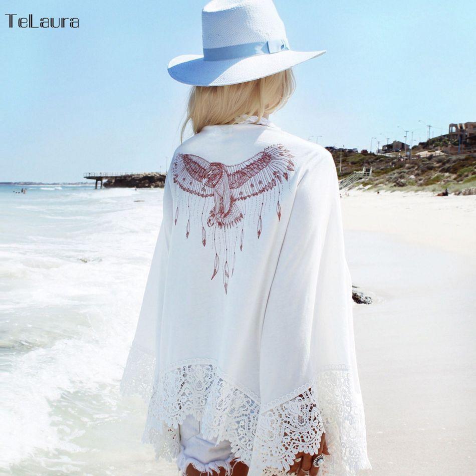Sexy Beach Cover Up Weiß Häkeln Strand Tunika Frauen Bikini vertuschungen Beachwear Weiblichen Badeanzug Lose Kleid bademode