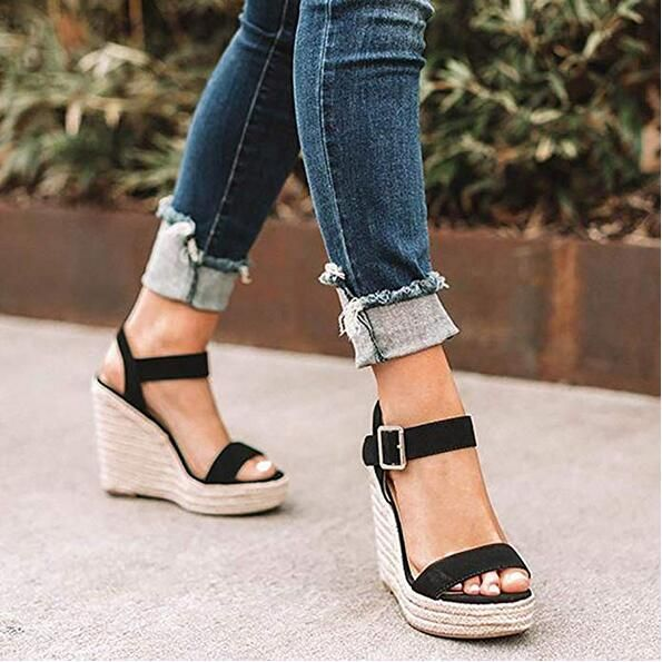 EOEODOIT Summer High Wedges Heel Sandals Fashion Open Toe Platform Elevator Women Leather Serpentine Shoes Plus Size Pumps 2019