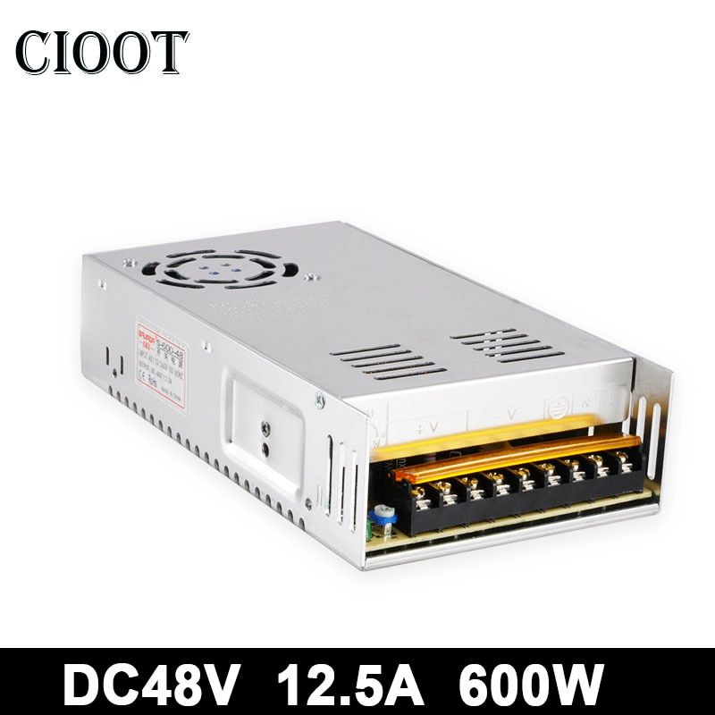 600W 12.5A DC 48V Switching Power Supply Source Adjustable Power Adapter Input Voltage AC110V/220V For CNC Spindle Motor Machine