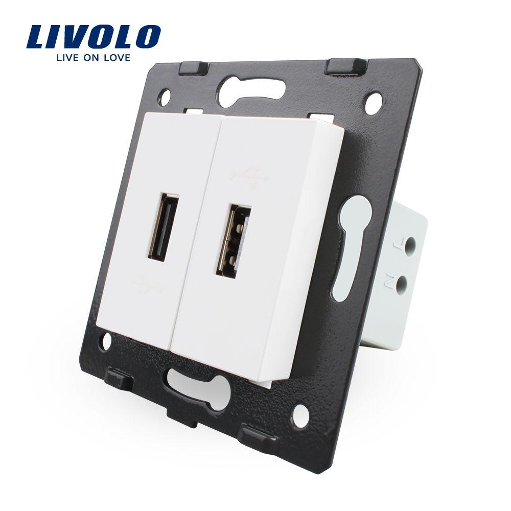 Livolo EU Standard bricolage pièces matières plastiques fonction clé, couleur blanche, 2 Gang pour prise USB, VL-C7-2USB-11 (4 couleurs)