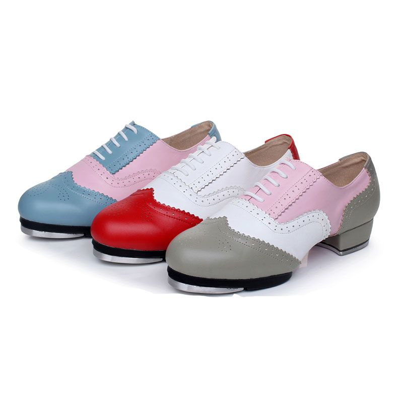 100% Genuine Leather Tap shoes High-end dance shoes High-impact aluminum plate Tap dance shoes For Women girl and Man Boy 3cm