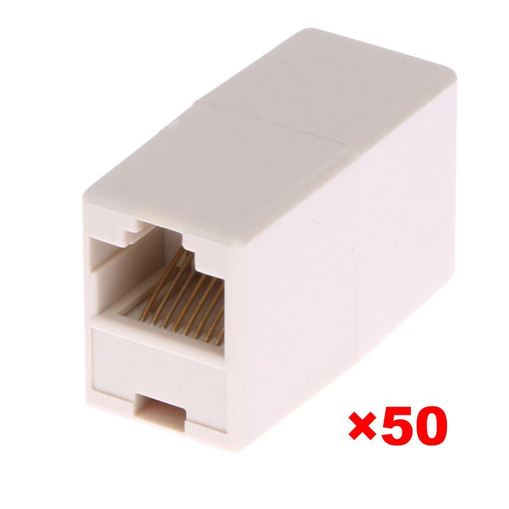 50 pcs/lot universel RJ45 Cat5 8P8C prise connecteur coupleur pour Extension haut débit Ethernet réseau LAN câble menuisier Extender
