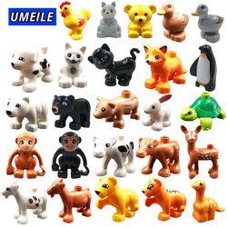 UMEILE Block Brick Diy Zoo Animal Series Big Particle Building Blocks Penguin/Fox Kids Baby Toy Compatible with brick
