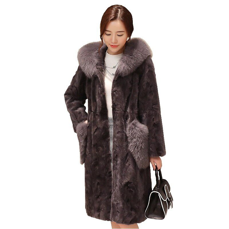 Luxury Real Piece Mink Fur Coat Jacket Fox Fur Hoody Autumn Winter Women Fur Warm Outerwear Coats Garment 3XL 4XL LF4224