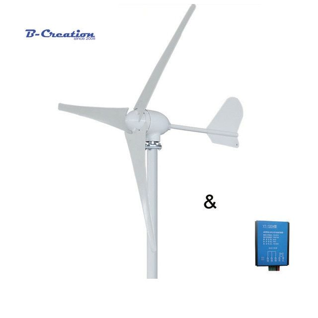500W 12V/24V/48V 3/5 blades horizontal wind turbine generator home use + HOME USE waterproof wind charger controller