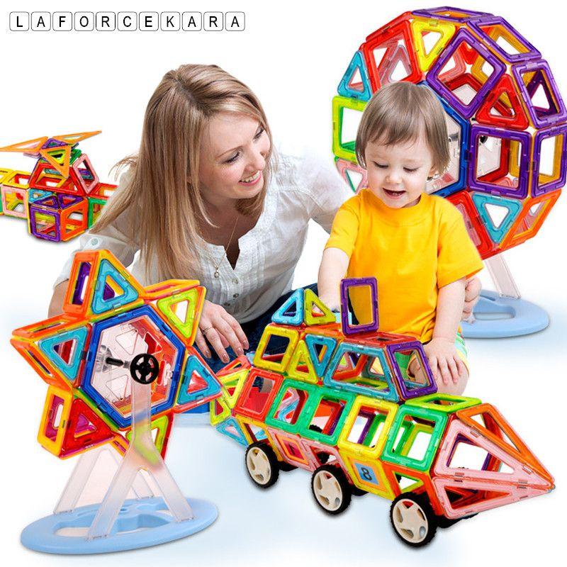 Marque Mini Designer Magnétique Jeu De Construction Modèle et Jouet de Bâtiment 164 pcs-64 pcs En Plastique Magnétique Blocs Jouets Éducatifs Kid