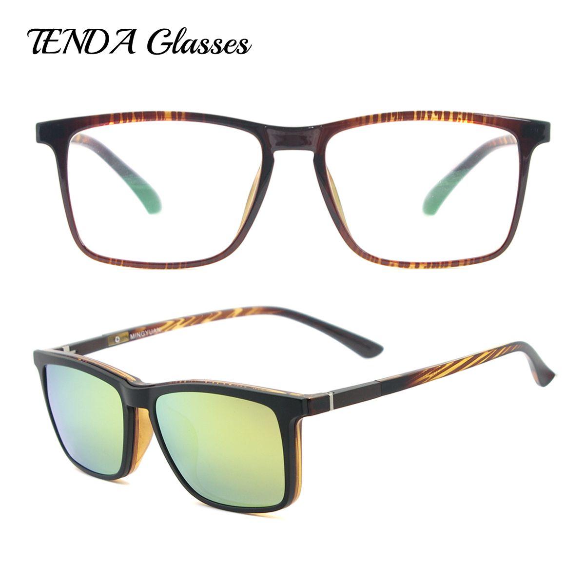 Hommes Carré Polarisées Clip Sur lunettes de Soleil Mode Léger Flexible TR90 Vintage Lunettes Cadres Pour Lentilles Degré