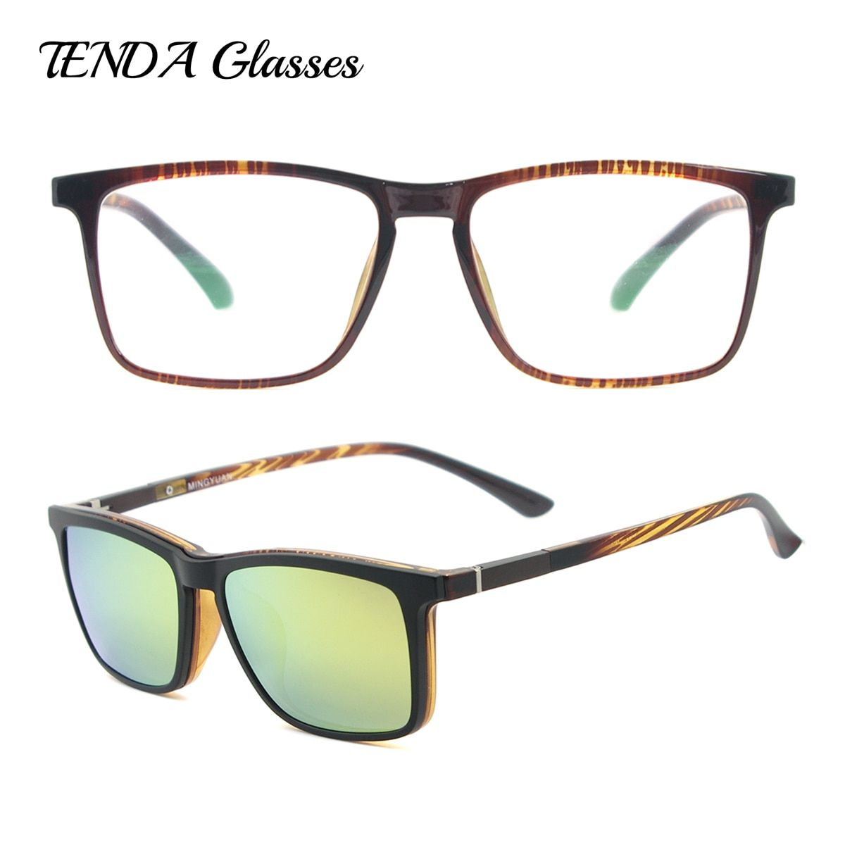 Hommes Grand Carré Lunettes De Mode Ultra Lumière Flexible Acétate TR90 Lunettes Cadres avec Clip Sur lunettes de Soleil Pour Lentilles Degré