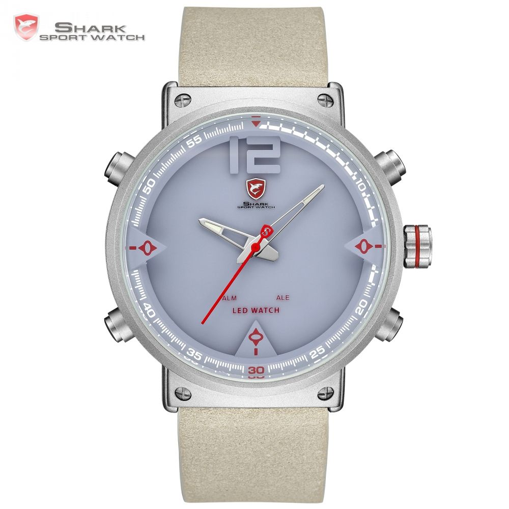 Bluegray Carpet Shark Sport Watch Digital 2018 NEW Design Double Time LED Date Alarm Leather Men's Quartz Watches Relogio /SH550