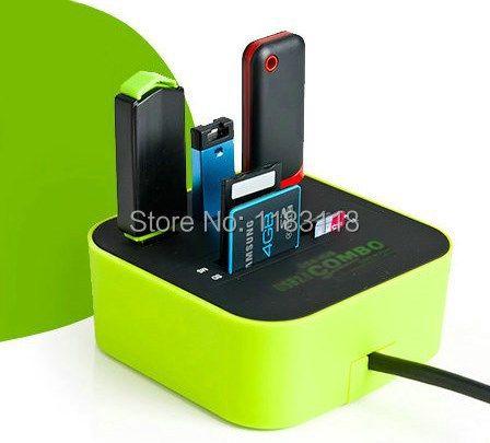 Zimoon Tienda hub de 3 puertos usb 2.0 HUB con lector de tarjetas Micro múltiple para SD/MMC/M2/MS/MP Accesorios de Computadora