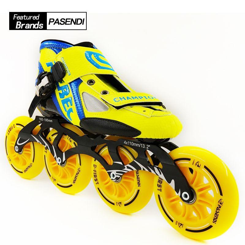 NEUE Ankunft Professionelle Hohe Geschwindigkeit Skate Schuhe Frauen Männer Große 4*110 MM Räder Rollschuh Inline Skating Stiefel erwachsene Kinder Schuhe