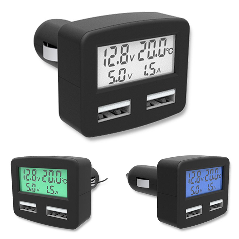 Universal 5in1 3A Car Charger DC 5 V Dual USB Auto Usb-ladegerät mit LCD Anzeige in fahrzeug temperatur Meter