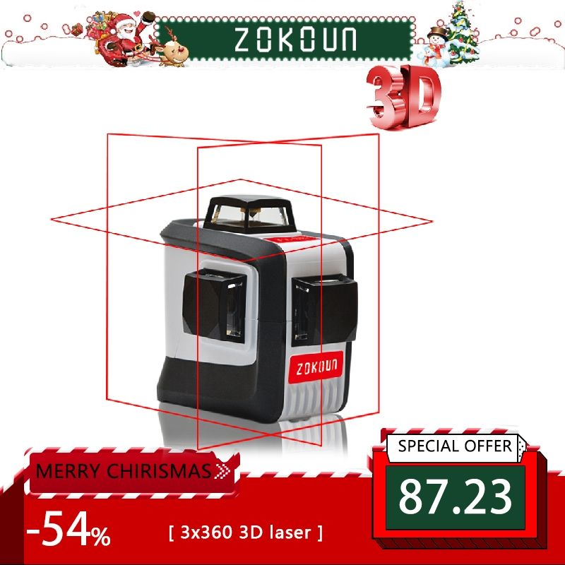 ZOKOUn 12 Lines 3D 94T <font><b>Self</b></font>-Leveling 360 Horizontal And Vertical Cross Super Powerful Red Laser Beam Line Laser Level
