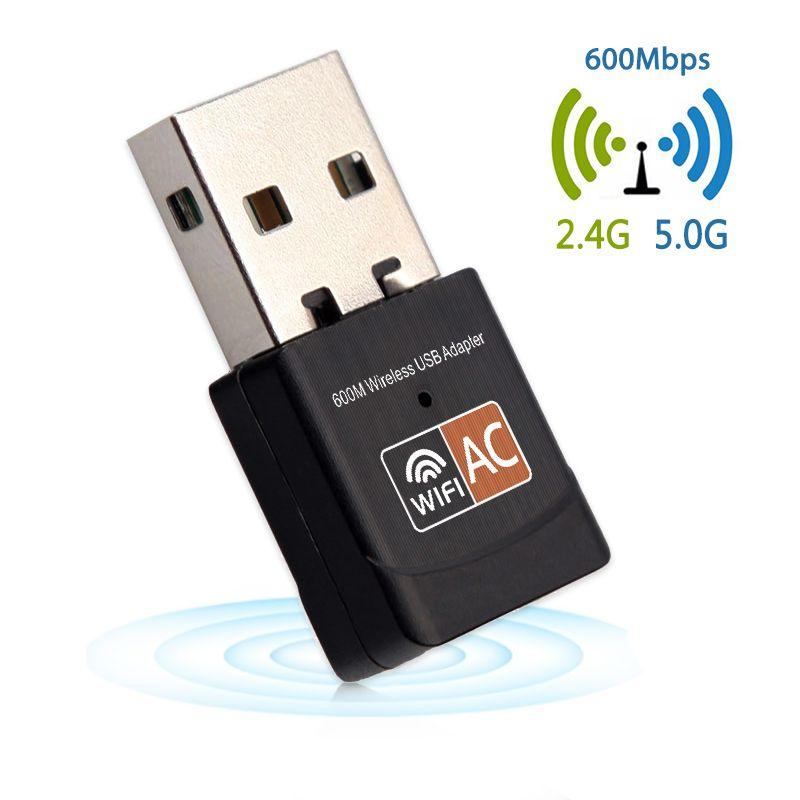600 Mbps WiFi Adaptateur Mini Sans Fil Wi-fi Adaptateur Double Bande 2.4 GHz 5 GHz Carte Réseau 802.11a/g/n/ac USB WiFi antenne Pour Ordinateur