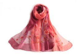 Mode d'été femmes fleur en soie gradient écharpe