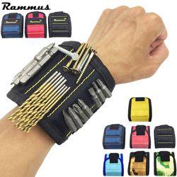 Rammus полиэстер магнитный браслет портативный инструмент сумка электрик запястье инструмент ремень шурупы Стразы для ногтей биты держатель ...