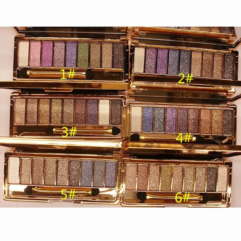 Professional Eye Shadow Maquillage 9 Colors Diamond Bright Makeup Eyeshadow Naked Smoky Palette Make Up Set With Brush